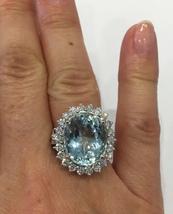 Solid 14K White Gold Genuine 10.5ct Oval Aquamarine 1.5ct Diamond Ring Sz 6 3/4 - $5,299.00