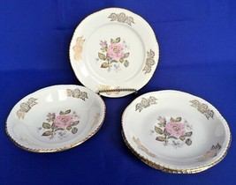 4 Homer Laughlin Queen Esther Pieces Saucers Berry Bowl Plate Liberty Shape Rose - $6.78