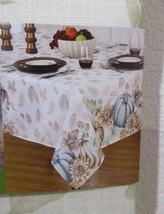Fall Thanksgiving Beige Blue Pumpkin Fabric Tablecloth ALL SIZES - €23,98 EUR+