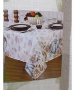 Fall Thanksgiving Beige Blue Pumpkin Fabric Tablecloth ALL SIZES - $24.99+