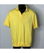 Lands End Retro Traditional Fit Polo Shirt M Yellow Buttons Pima Cotton - $14.00
