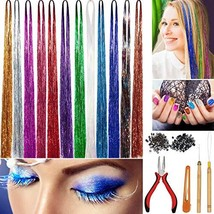 Hair Tinsel Strands Kit, WEST BAY 12 Colors 2400 Strands Tinser Hair Extensions