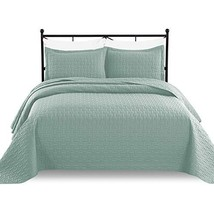 Luxe Bedding 3-piece Oversized Quilted Bedspread Coverlet Set Full/Queen, Spa Bl