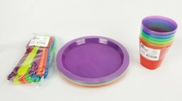 Kids Dinnerware Set Rainbow Colors kids BPA Free 6 Cups, Plates, Spoons ... - $18.40