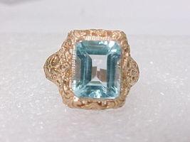 14K ROSE GOLD on Sterling Silver Genuine BLUE TOPAZ Ring - Size 6 3/4 - $68.00