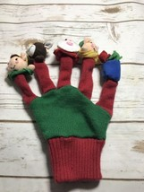 Vintage Hand Crafted Red Knit Pretend Play Finger Puppet Glove Christmas... - $9.85