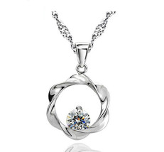 New 925 Sterling Silver Pendant with Cubic Zircon necklace chain for women - $13.99