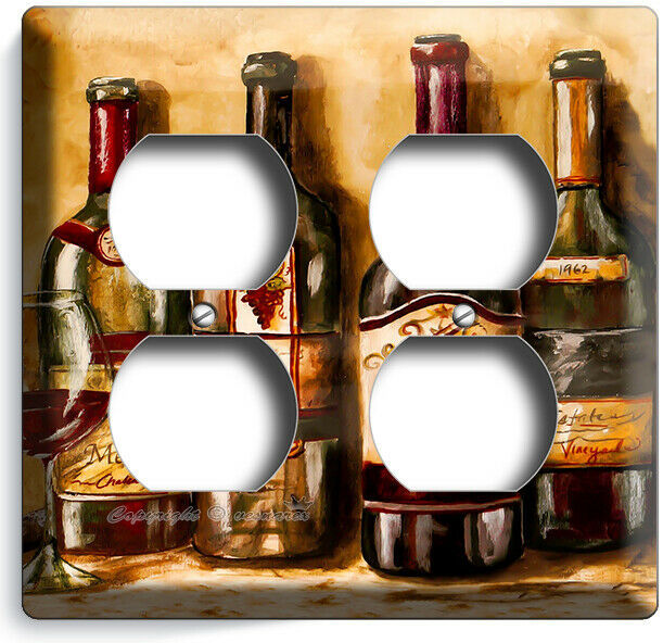 VINTAGE TUSCAN WINE BOTTLES COLLECTION LIGHT SWITCH OUTLET PLATES KITCHEN DECOR image 8