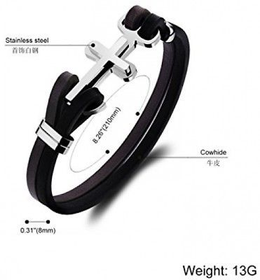 Elcer Mens Leather Stainless Steel Band Bracelet Cross Jesus Ancher Nautical image 2