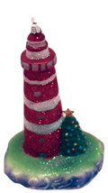 Red Striped with Christmas Tree-LED Light House Ornament-By Kurt Adler - $15.67
