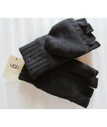 UGG Gloves Knit Flip Mittens Leather Palm Wool Blend Black L/XL - $74.24