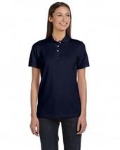 Navy Blue Women's Anvil L Short Sleeve 50/50 Jersey Knit Polo Shirt New - $15.49