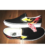 Vans Classic Slip on Mens Flame Black True White Canvas Skate shoes Size... - $47.51