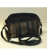 Green Stripe Faux Snake Shoulder Bag Purse Gray Navy Textured Stitching ... - $40.00
