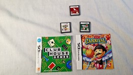 Nintendo DS 3 game lot Carnival Games Clubhouse Games & Nintendogs - $7.95