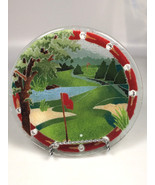 Golf Course plate dish PEGGY KARR GLASS gift for golfer gift - $35.62