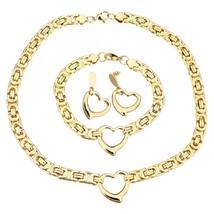 Fashion Women Gold Heart Stainless Steel Jewelry Set Necklace Bracelet E... - $41.30