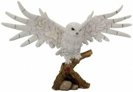 Snowy Rest White Owl Statue Figurine 30 cm - $64.34