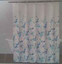 DKNY WallFlower Wall Flower Shower Curtain Blue Aqua Flowers Fabric 72''... - $28.70