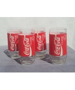 Set of 4 Vintage Coca-cola Classic Glasses - Full Wrap Graphic -- Mint C... - $50.00