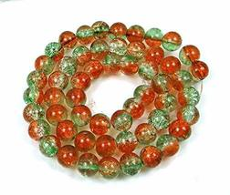 50 Czech Glass Crackle Cracked Round Beads 8mm - Green Amber - $12.86