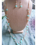 MULTISTRAND TEAL BLUE & CRYSTAL BEAD GOLD CHAIN NECKLACE WITH  MATCHING ... - $21.49