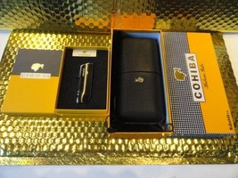 Cohiba Black & Gold Leather Cigar Case with Cohiba Pocket Lighter new in boxes - $163.35