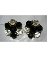 Trifari black bead clear faceted gold tone round clip earrings MINT signed - $39.59