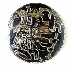 Vintage Sterling Mexico Niello Aztec Mayan Broo... - $33.00