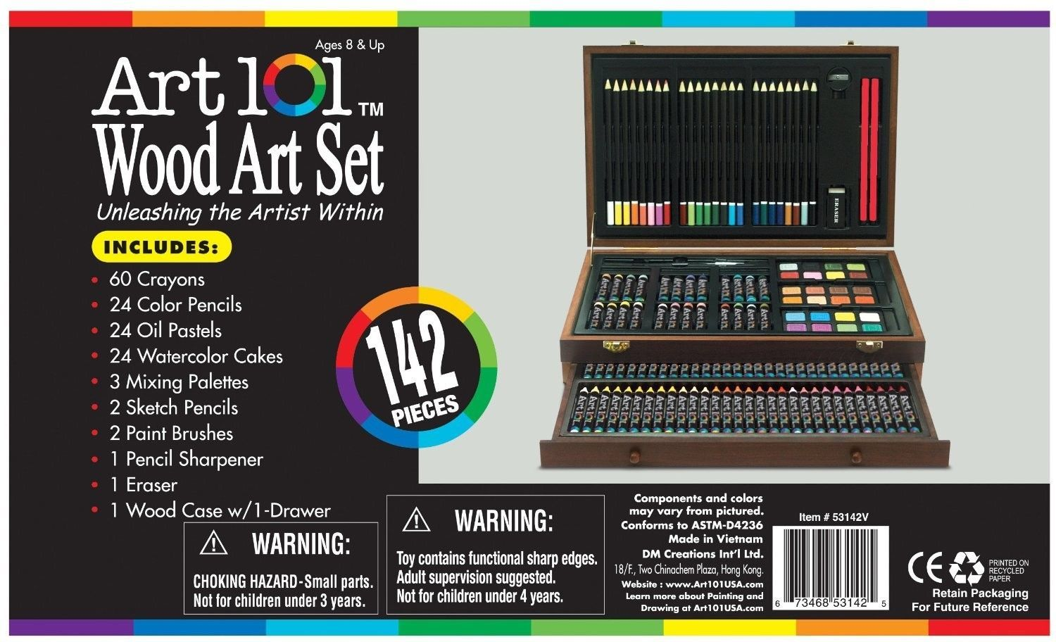 Art 101 Set Drawing & Watercolors Wooden Case Pastels Crayons 142 Piece