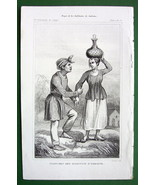 MOLUCCAS ISLANDS Amboine Natives Costume - 1843 Antique Print - $7.27