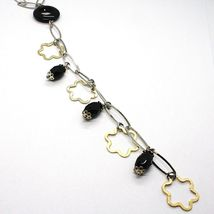 Necklace Silver 925, Onyx Black, Pendant Flowers, Daisy, Waterfall image 3