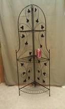 """9K11 Black Wrought Iron 3 Tiered Corner Shelf 50"""" Tall Indoor/Outdoor - $78.00"""