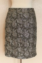 J.Crew Collection Pencil Skirt size 4 Women olive silver gold brocade silk blend - $28.70