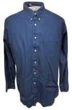 Geoffrey Beene Men's Shirt Size 17-1/2 34/35 Blue Cotton Denim Button Do... - $19.99