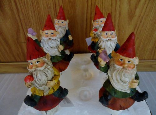 Set of 6 Gnomes on Stakes for your Garden Decor