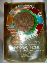 VTG Elks Bicentennial Wood plaque National Home Bedford Va Earnest D Gra... - $26.45