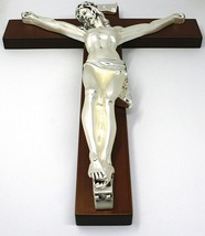 WALL CRUCIFIX, WOOD, SILVER CHRIST SMOOTH AND SATIN, 10 INCHES, MADE IN ITALY image 2