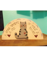Cat Decoration Hand Crafted in Wood and Hand Painted - $5.00