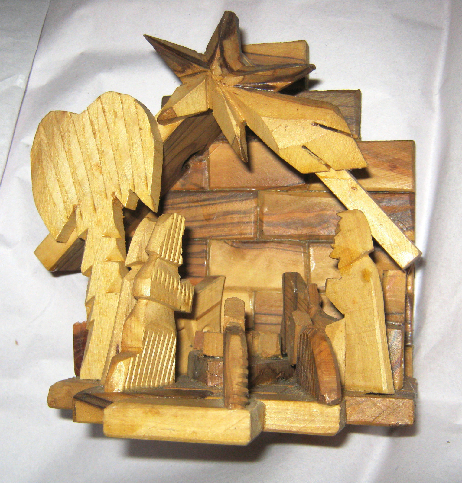 "Primary image for VTG Olive Wood Stable Nativity Scene Creche  5.5"" x 5.5"" Hand Carved"
