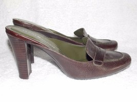 Tommy Hilfiger Pebble Leather SLIP ON Heels Brown/Green 8.5M Used - $29.69