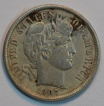 1907 Barber circulated silver dime VF details - $25.00
