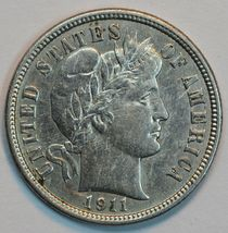 1911 D Barber circulated silver dime VF+ details - $24.00