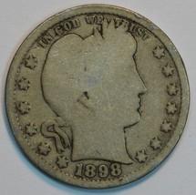 1898 O Barber circulated silver quarter AG details - $20.00