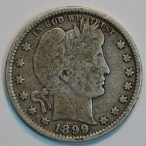 1899 P Barber circulated silver quarter VG details - $26.00