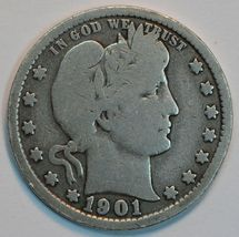 1901 P Barber circulated silver quarter G details - $20.00