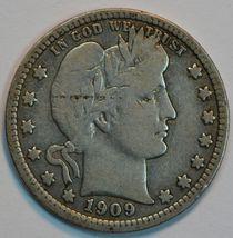 1909 P Barber circulated silver quarter F details - $20.00