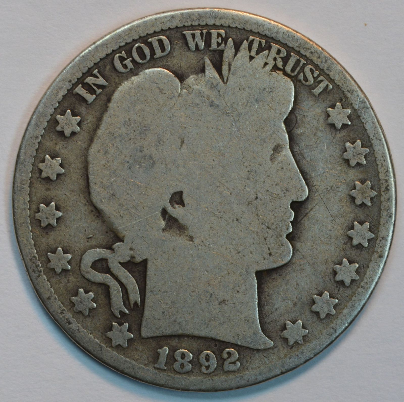 Primary image for 1892 P Barber circulated silver half AG details