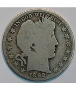 1892 P Barber circulated silver half AG details - $32.00