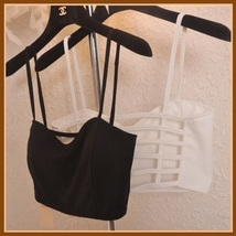 Short Summer Cami Crop Tank Top with Spaghetti Straps and Strappy Open Back  image 2